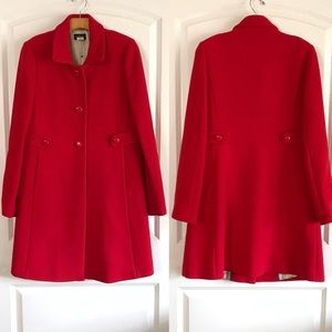 J Crew Women's Cherry Red Wool Peacoat